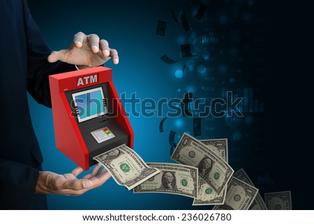 man hand showing  teller machine - stock photo