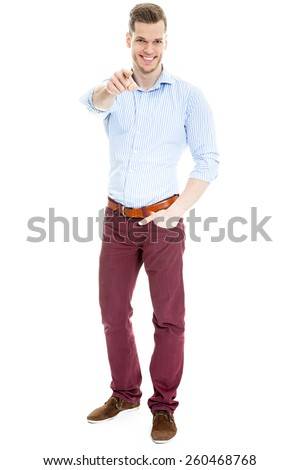 Man pointing front over white background - stock photo