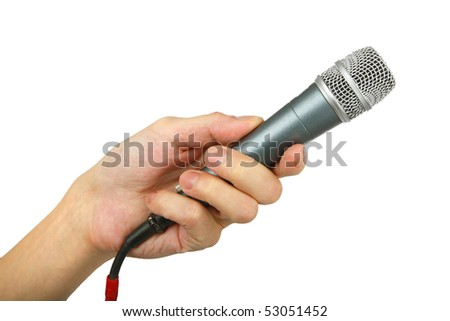 man's hand with microphone , closeup, isolated background