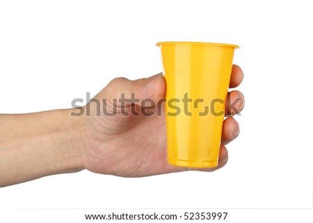 man's hand with  plastic cup , closeup isolated background