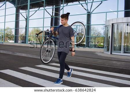 Young Hipster Man Fixed Gear Bike Stock Photo 638642830 Shutterstock
