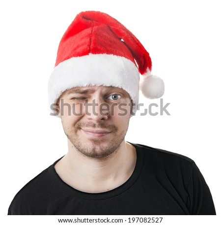 Man with a santa hat, isolated on white.