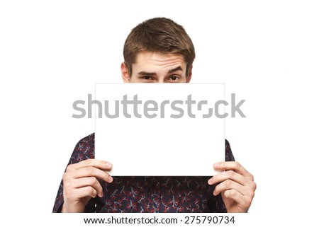 Man with a white sheet of paper