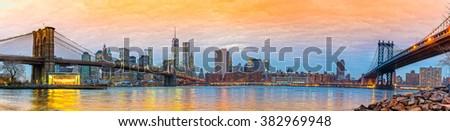 Manhattan skyline at sunrise, New York City. USA. - stock photo