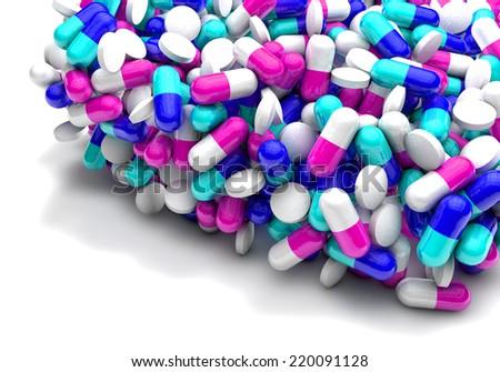 Many colorful medicines. Medical, pharmacy Background  - stock photo