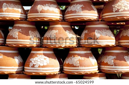 Many earthen pots - stock photo