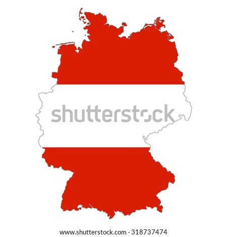 map Germany  in Austria flag colors. Austrians in the Germany   - stock photo
