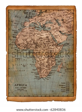 37 Map of Africa edit in a travel guide of 1888 - stock photo