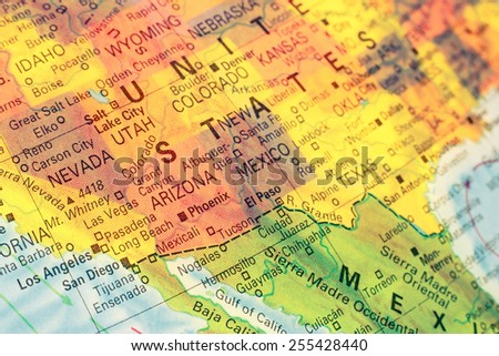Map South West USA .  Close-up macro image of  map South West America. Selective focus  - stock photo