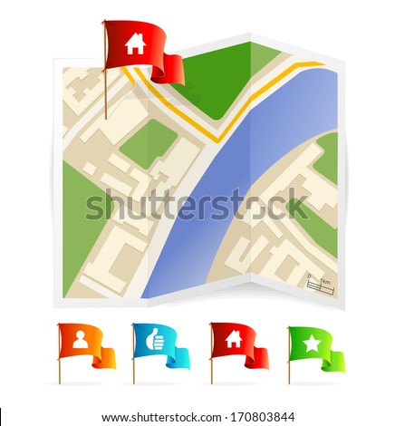 map with navigation icons - stock photo