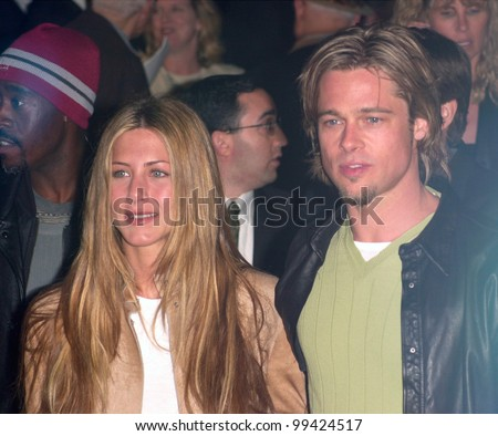 "14MAR2000:  Actress JENNIFER ANISTON & actor boyfriend BRAD PITT at the world premiere, in Los Angeles, of ""Erin Brockovich"" which stars Julia Roberts & Albert Finney.  Paul Smith / Featureflash"