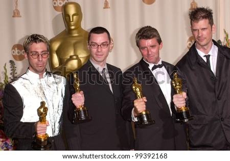 "26MAR2000:  ""The Matrix"" visual effects team JOHN GAETA (left), JANEK SIRRS, STEVE COURTLEY & JON THUM at the 72nd Academy Awards.  Paul Smith / Featureflash"