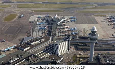 16 March 2016, Amsterdam. Aerial view of the C-gate at Schiphol Airport, Netherlands. The control tower is in the front of the picture.