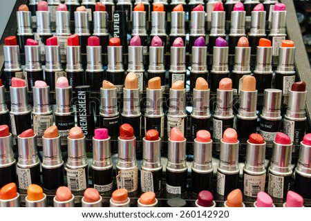 08 March, 2015 colourfull of many lipsticks in a shop in Hanoi, Vietnam. Vietnamese men offten offer his wife or girl friend a lipstick on international Women's Day.