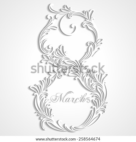 8 March. Greeting card. Celebration background with number eight. Raster illustration for your design.  - stock photo