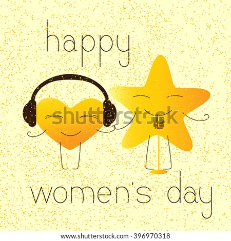 8 march greeting card with golden colored cartoon heart character in headphones and star character with retro microphone and lettering happy womens day in English on yellow background and golden dotes - stock photo