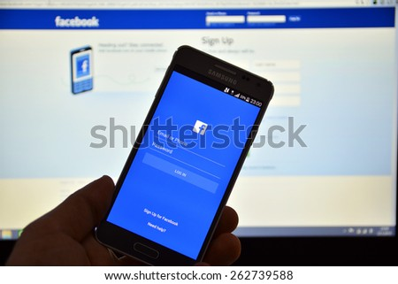 23 March 2015 - Istanbul, TURKEY: Facebook user login screen. The number of active mobile users Facebook has reached 1 billion people - stock photo
