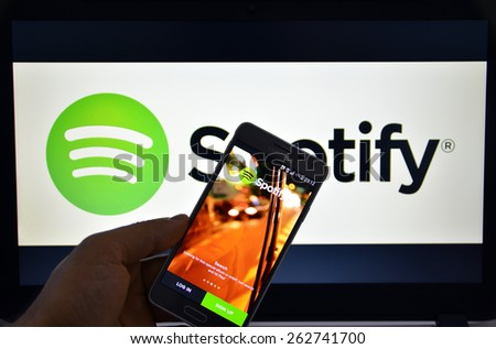 23 March 2015 - Istanbul, TURKEY: Spotify Swedish music service that offers legal streaming music. Was launched in October 2008. - stock photo