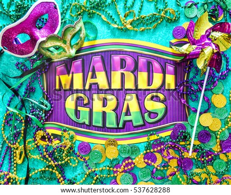 Mardi Gras banner with masks, beads, pinwheel and coins. Green, gold, purple, bright, festive, cheerful, celebrate, party, Festival,