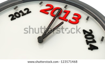 2013 marked by the hands of a clock and sides between 2012 and 2014 - stock photo