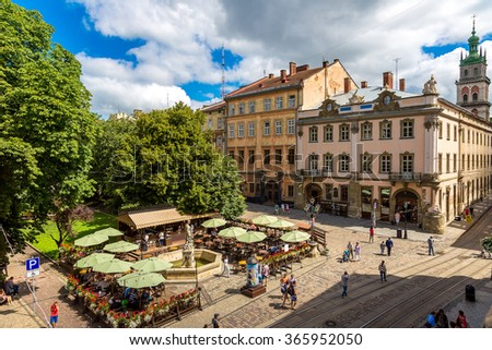 Market square - historical and tourist centre of Lvov, Ukraine in a summer day