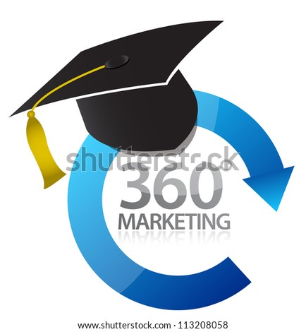 360 marketing education concept illustration design over white - stock photo