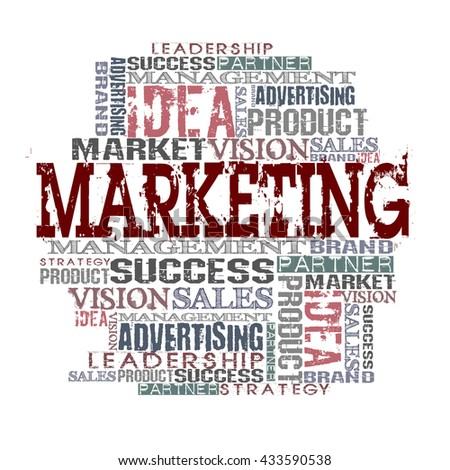 Marketing Word Cloud Concept White Background - stock photo