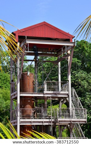 Martinique, the picturesque distillery JM in Macouba in West Indies