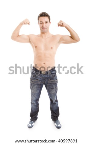 Masculine Young man showing his muscles