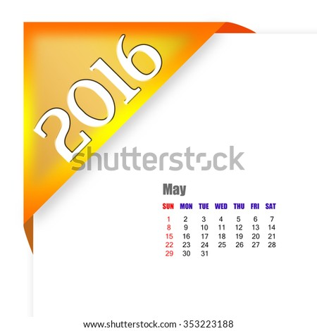 2016 May calendar - stock photo