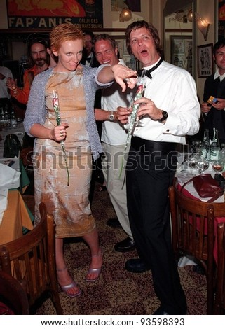 "24MAY98:  Director TODD HAYNES & actress TONI COLETTE celebrate his Special Jury Prize at the Cannes Film Festival for his movie ""Velvet Goldmine."""