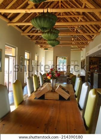 3 May, 2014 -  Stellenbosch, Western Cape Town, South Africa. Modern design living room in tasting hall in Vergelegen wine farm / estate. Country style. Antiques furniture
