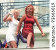 10MAY97:  The SPICE GIRLS GERI HALLIWELL (right) & EMMA BUNTON at the 1997 Cannes Film Festival. - stock photo