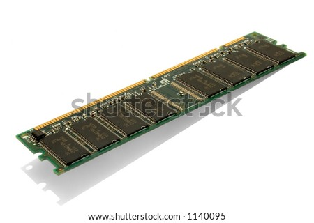 128 mb RAM chip on a isolated white background