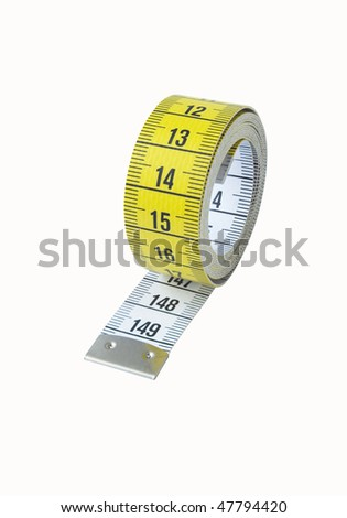 Measuring tape on the white.