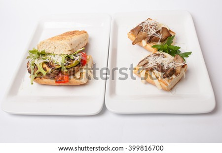 meat sandwiches with mushrooms,zucchini  - stock photo
