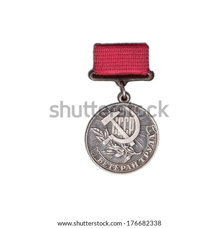 medal a veteran labor isolated on white background - stock photo