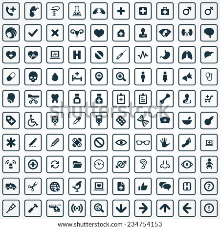100 Medical icons big universal set
