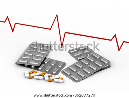 Medical sign with medicines - stock photo