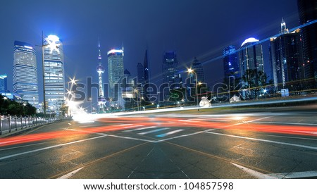 Megacity Highway at night dusk light trails in shanghai Lujiazui China