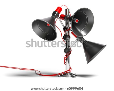 3 megaphones on a post image isolated over white background