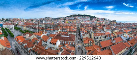 22 Megapixels Panorama view of old town Lisbon and Sao Jorge Castle, the capital and the largest city of Portugal. - stock photo