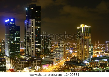 - Melbourne at night; location: Southbank;  company logos were removed - stock photo