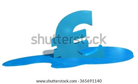 Melting blue euro sign - stock photo