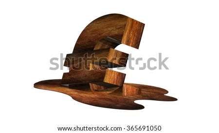 Melting euro sign - stock photo