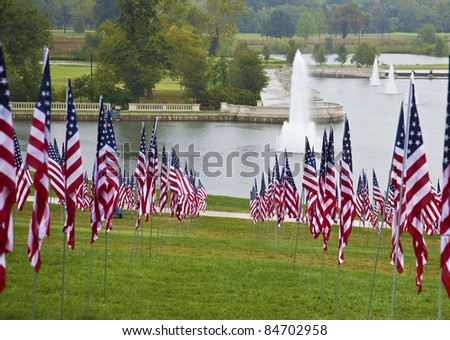 911 memorial in St. Louis September 2011 - stock photo