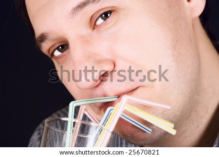 Men drink from the straw