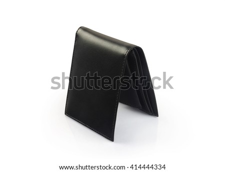 Men's Black Leather Wallet Isolated on White  - stock photo