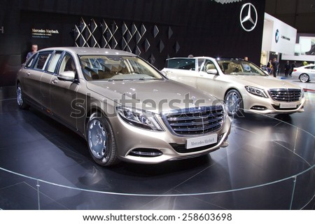 2015 Mercedes-Maybach S600 Pullman presented the 85th International Geneva Motor Show on March 3, 2015 in Palexpo, Geneva, Switzerland