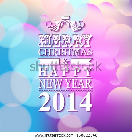 2014 Merry Christmas and Happy New Year  card or background.
